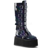 Noir Verni 9 cm DAMNED-318 plateformes bottes à boucles pour femmes