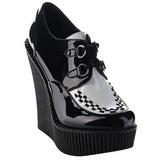 Noir Verni CREEPER-302 chaussures creepers compensées