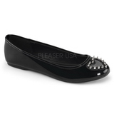 Noir Verni STAR-24 chaussures ballerines gothique talons plates