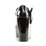 Noir cuir verni 13 cm POISON-02 Escarpins Talons Compensées