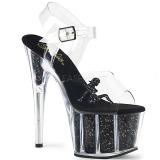Noir paillettes 18 cm Pleaser ADORE-708GTG Sandales à talons de pole dance