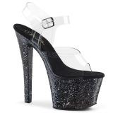 Noir paillettes 18 cm Pleaser SKY-308LG chaussure à talons de pole dance