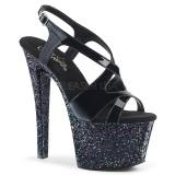 Noir paillettes 18 cm Pleaser SKY-330LG chaussure à talons de pole dance