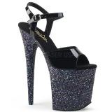 Noir paillettes 20 cm Pleaser FLAMINGO-809LG chaussure à talons de pole dance