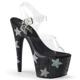 Noir pierre strass 18 cm ADORE-708STAR chaussure à talons de pole dance