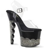 Noir pierre strass 18 cm SCALLOP-708-2RS chaussure à talons de pole dance