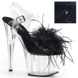Noir plumes de marabout 18 cm ADORE-708MF chaussure de pole dance