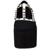 Noir toile 8 cm CLICK-07 plateforme chaussures lolita