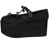 Noir toile 8 cm CLICK-08 plateforme chaussures lolita