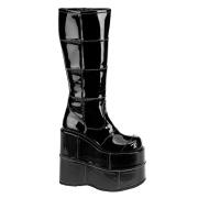 Noir vinyle 18 cm STACK-301 bottes demonia - bottes de cyberpunk unisex