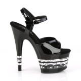 Noires sandales plateforme 18 cm ADORE-709LNRS sandales talons hauts pleaser