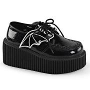 Noirs 7,5 cm CREEPER-205 chaussures creepers femmes ailes de chauve-souris