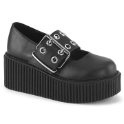 Noirs 7,5 cm CREEPER-230 maryjane creepers chaussures boucle large