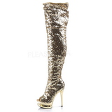 Or Paillettes 15 cm PLEASER BLONDIE-R-3011 Cuissardes Haut Talon
