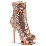 Or Rose Paillettes 15,5 cm BLONDIE-R-1008 Plateforme Bottines Femmes
