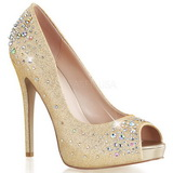 Or Satin 13 cm HEIRESS-22R Strass Plateforme Escarpins Hauts Talons