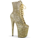 Or glitter 20 cm FLAMINGO-1020GWR exotic bottines de pole dance