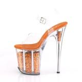 Orange 20 cm FLAMINGO-808GF etincelle talons avec plateforme