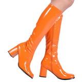 Orange 7,5 cm GOGO-300 disco bottes à talon carré vernis années 70