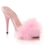 Pink 13 cm POISE-501F plumes de marabout Mules Chaussures