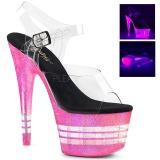Pink 18 cm ADORE-708UVLN Plateforme Neon Sandales Femmes