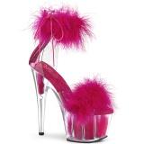 Pink 18 cm ADORE-724F sandales à talons hauts et plumes pole dance