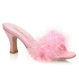 Pink 7,5 cm FLAPPER-01F plumes de marabout Mules Chaussures