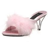Pink 8 cm BELLE-301F plumes de marabout Mules Chaussures