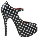 Points Blancs 14,5 cm Burlesque TEEZE-08 Noir Escarpins Haut Talon