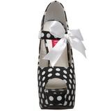 Points Blancs 14,5 cm Burlesque TEEZE-25 Noir Escarpins Haut Talon