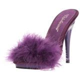Pourpre 13 cm POISE-501F plumes de marabout Mules Chaussures