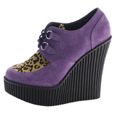 Pourpre Similicuir CREEPER-304 chaussures creepers compensées