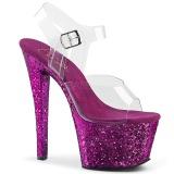Pourpre paillettes 18 cm Pleaser SKY-308LG chaussure à talons de pole dance