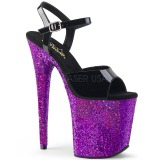 Pourpre paillettes 20 cm Pleaser FLAMINGO-809LG chaussure à talons de pole dance