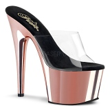 Rose 18 cm ADORE-701 Chrome Plateforme Mules Chaussures