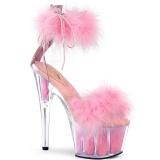 Rose 18 cm ADORE-724F sandales à talons hauts et plumes pole dance