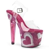 Rose 18 cm LOVESICK-708HEART Chaussures pour femmes talon pierres scintillantes