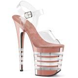 Rose 20 cm FLAMINGO-808CHLN Sandales Femmes Plateforme Chrome