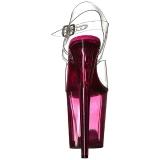 Rose 20 cm FLAMINGO-808T Plateforme Sandales Acrylique Hauts Talons