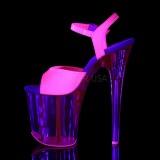 Rose 20 cm FLAMINGO-809UVT Neon Plateforme Sandales Hauts Talons