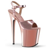 Rose 20 cm Pleaser FLAMINGO-809 Talons Hauts Chrome Plateforme