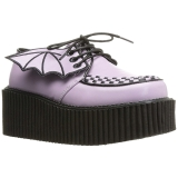 Rose CREEPER-205 Chaussures Creepers Femmes Plateforme