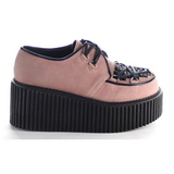 Rose Similicuir CREEPER-216 Chaussures Creepers Femmes Plateforme