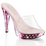 Rose Transparent 14 cm COCKTAIL-501SDT Mules Haut Talon Glitzee
