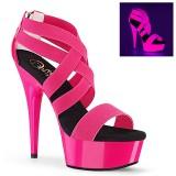 Rose neon 15 cm DELIGHT-669UV chaussure à talons de pole dance