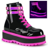 Rose neon 5 cm SLACKER-52 bottines cyberpunk plateforme