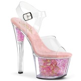 Rose transparent 18 cm SKY-308CF chaussures de striptease