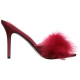 Rouge 10 cm CLASSIQUE-01F mules femmes avec plumes de marabout