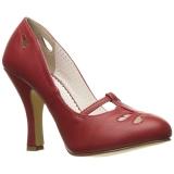 Rouge 10 cm SMITTEN-20 Pinup escarpins femmes à talons bas