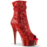 Rouge 15 cm DELIGHT-1008SQ bottines a paillettes pour femmes